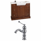 40-in. W Floor Mount Cherry Vanity Set For 1 Hole Drilling