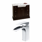 American Imaginations 40-in. W Floor Mount Walnut Vanity Set For 1 Hole Drilling