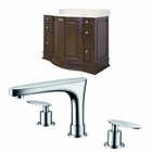 American Imaginations 42-in. W Floor Mount Walnut Vanity Set For 3H8-in. Drilling