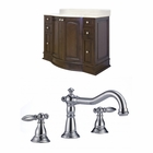 42-in. W Floor Mount Walnut Vanity Set For 3H8-in. Drilling
