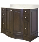 American Imaginations 42-in. W Floor Mount Walnut Vanity Set For 3H8-in. Drilling Beige Top White UM Sink