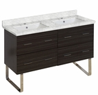 American Imaginations 47.5-in. W Floor Mount Dawn Grey Vanity Set For 1 Hole Drilling Bianca Carara Top White UM Sink