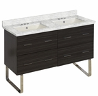 47.5-in. W Floor Mount Dawn Grey Vanity Set For 3H4-in. Drilling Bianca Carara Top Biscuit UM Sink