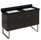American Imaginations 47.5-in. W Floor Mount Dawn Grey Vanity Set For 3H4-in. Drilling Black Galaxy Top White UM Sink