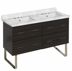 American Imaginations 47.5-in. W Floor Mount Dawn Grey Vanity Set For 3H8-in. Drilling Bianca Carara Top White UM Sink