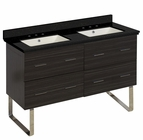 47.5-in. W Floor Mount Dawn Grey Vanity Set For 3H8-in. Drilling Black Galaxy Top Biscuit UM Sink