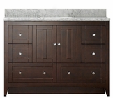 47.5-in. W Floor Mount Walnut Vanity Set For 1 Hole Drilling Bianca Carara Top Biscuit UM Sink