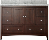 47.5-in. W Floor Mount Walnut Vanity Set For 1 Hole Drilling Bianca Carara Top White UM Sink