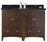 47.5-in. W Floor Mount Walnut Vanity Set For 1 Hole Drilling Black Galaxy Top Biscuit UM Sink