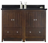 American Imaginations 47.5-in. W Floor Mount Walnut Vanity Set For 1 Hole Drilling Black Galaxy Top White UM Sink
