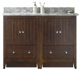 American Imaginations 47.5-in. W Floor Mount Walnut Vanity Set For 3H4-in. Drilling Bianca Carara Top Biscuit UM Sink