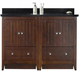 American Imaginations 47.5-in. W Floor Mount Walnut Vanity Set For 3H4-in. Drilling Black Galaxy Top White UM Sink