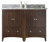 American Imaginations 47.5-in. W Floor Mount Walnut Vanity Set For 3H8-in. Drilling Bianca Carara Top Biscuit UM Sink