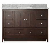47.5-in. W Floor Mount Walnut Vanity Set For 3H8-in. Drilling Bianca Carara Top Biscuit UM Sink
