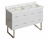 American Imaginations 47.5-in. W Floor Mount White Vanity Set For 1 Hole Drilling Bianca Carara Top Biscuit UM Sink