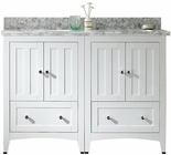 47.5-in. W Floor Mount White Vanity Set For 1 Hole Drilling Bianca Carara Top White UM Sink
