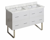 American Imaginations 47.5-in. W Floor Mount White Vanity Set For 1 Hole Drilling Bianca Carara Top White UM Sink