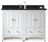47.5-in. W Floor Mount White Vanity Set For 3H4-in. Drilling Black Galaxy Top Biscuit UM Sink