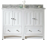 American Imaginations 47.5-in. W Floor Mount White Vanity Set For 3H8-in. Drilling Bianca Carara Top Biscuit UM Sink