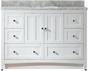 47.5-in. W Floor Mount White Vanity Set For 3H8-in. Drilling Bianca Carara Top White UM Sink