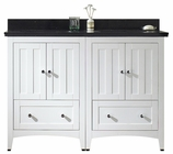 47.5-in. W Floor Mount White Vanity Set For 3H8-in. Drilling Black Galaxy Top Biscuit UM Sink