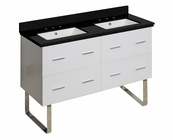 47.5-in. W Floor Mount White Vanity Set For 3H8-in. Drilling Black Galaxy Top White UM Sink