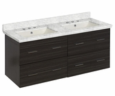 American Imaginations 47.5-in. W Wall Mount Dawn Grey Vanity Set For 3H8-in. Drilling Bianca Carara Top Biscuit UM Sink