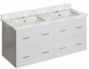 American Imaginations 47.5-in. W Wall Mount White Vanity Set For 1 Hole Drilling Bianca Carara Top Biscuit UM Sink