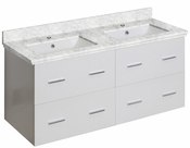 American Imaginations 47.5-in. W Wall Mount White Vanity Set For 1 Hole Drilling Bianca Carara Top White UM Sink