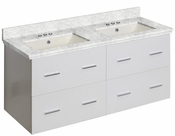 American Imaginations 47.5-in. W Wall Mount White Vanity Set For 3H4-in. Drilling Bianca Carara Top Biscuit UM Sink