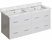 American Imaginations 47.5-in. W Wall Mount White Vanity Set For 3H4-in. Drilling Bianca Carara Top White UM Sink