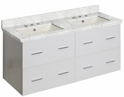 American Imaginations 47.5-in. W Wall Mount White Vanity Set For 3H8-in. Drilling Bianca Carara Top Biscuit UM Sink