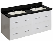 American Imaginations 47.5-in. W Wall Mount White Vanity Set For 3H8-in. Drilling Black Galaxy Top Biscuit UM Sink