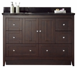 47.6-in. W Floor Mount Walnut Vanity Set For 1 Hole Drilling Black Galaxy Top Biscuit UM Sink