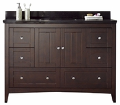 47.6-in. W Floor Mount Walnut Vanity Set For 1 Hole Drilling Black Galaxy Top White UM Sink