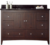 47.6-in. W Floor Mount Walnut Vanity Set For 3H4-in. Drilling Black Galaxy Top Biscuit UM Sink