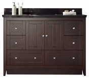 47.6-in. W Floor Mount Walnut Vanity Set For 3H8-in. Drilling Black Galaxy Top Biscuit UM Sink