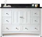 47.6-in. W Floor Mount White Vanity Set For 3H8-in. Drilling Black Galaxy Top Biscuit UM Sink
