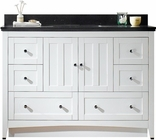 47.6-in. W Floor Mount White Vanity Set For 3H8-in. Drilling Black Galaxy Top White UM Sink