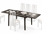 47in Expandable Dining Table Paloma w/ Frosted Glass Top Italy 33D102