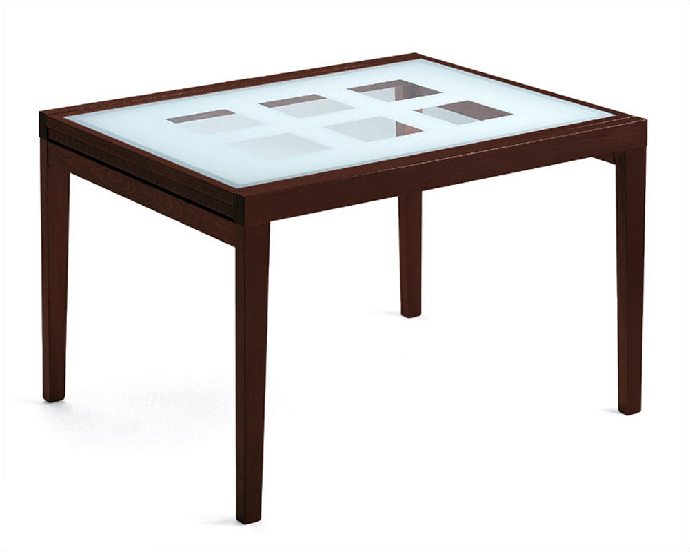 47in Expandable Dining Table Paloma W Frosted Glass Top
