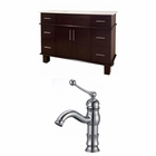 American Imaginations 48-in. W Floor Mount Antique Cherry Vanity Set For 1 Hole Drilling