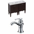 American Imaginations 48-in. W Floor Mount Antique Walnut Vanity Set For 1 Hole Drilling