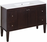 American Imaginations 48-in. W Floor Mount Antique Walnut Vanity Set For 3H4-in. Drilling