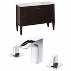 American Imaginations 48-in. W Floor Mount Antique Walnut Vanity Set For 3H8-in. Drilling