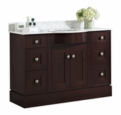 48-in. W Floor Mount Coffee Vanity Set For 3H8-in. Drilling Bianca Carara Top White UM Sink