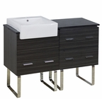 American Imaginations 48-in. W Floor Mount Dawn Grey Vanity Set For 1 Hole Drilling Black Galaxy Top