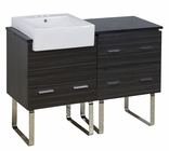 American Imaginations 48-in. W Floor Mount Dawn Grey Vanity Set For 3H4-in. Drilling Black Galaxy Top
