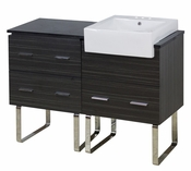 48-in. W Floor Mount Dawn Grey Vanity Set For 3H4-in. Drilling Black Galaxy Top