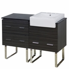 American Imaginations 48-in. W Floor Mount Dawn Grey Vanity Set For 3H8-in. Drilling Black Galaxy Top